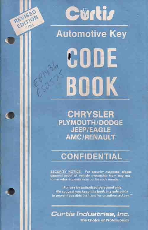 Hawley Lock Supply: Curtis Chrysler-AMC-Jeep-Eagle-Renault